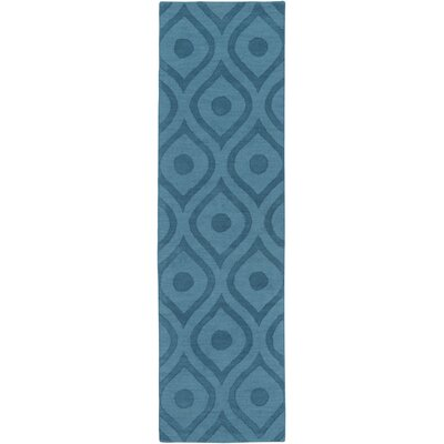 Castro Hand Woven Wool Teal Area Rug Rug Size: Runner 23 x 8