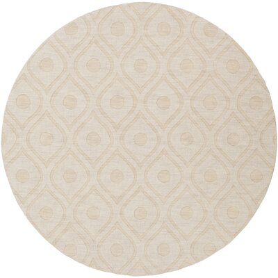 Castro Hand Woven Wool Beige Area Rug Rug Size: Round 6