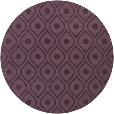 Castro Hand Woven Wool Purple Area Rug Rug Size: Round 6