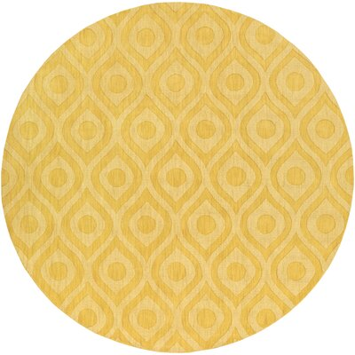 Castro Hand Woven Wool Yellow Area Rug Rug Size: Round 99