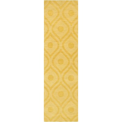 Castro Hand Woven Wool Yellow Area Rug Rug Size: Runner 23 x 14