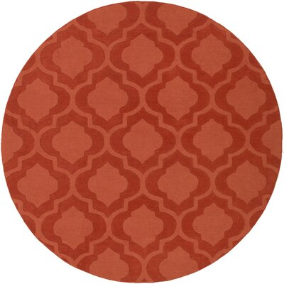 Castro Hand Woven Wool Orange Area Rug Rug Size: Round 6