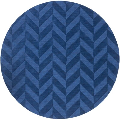 Castro Navy Chevron Carrie Area Rug Rug Size: Round 6