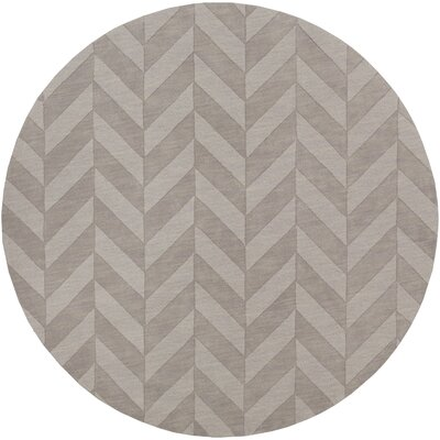 Castro Grey Chevron Carrie Area Rug Rug Size: Round 99