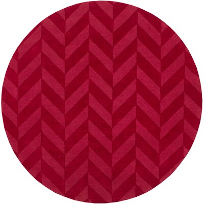 Castro Red Chevron Carrie Area Rug Rug Size: Round 6