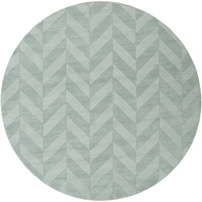 Castro Teal Chevron Carrie Area Rug Rug Size: Round 6