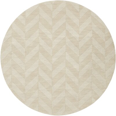 Castro Hand-Woven Wool Ivory Area Rug Rug Size: Round 99