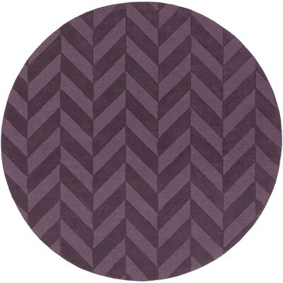 Castro Purple Chevron Carrie Area Rug Rug Size: Round 6