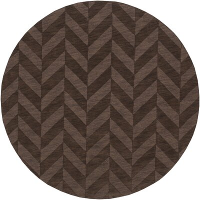 Castro Brown Chevron Carrie Area Rug Rug Size: Round 6