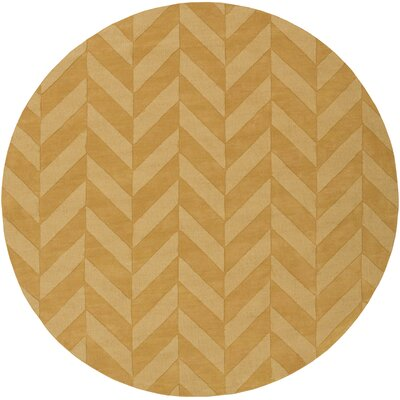 Castro Yellow Chevron Carrie Area Rug Rug Size: Round 79