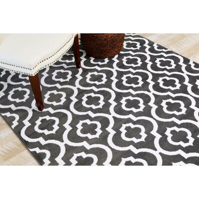 Spaulding Charcoal Indoor/Outdoor Area Rug Rug Size: 52 x 72