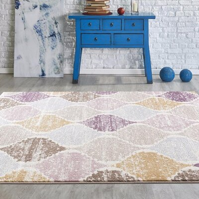 Catalan Cream Indoor/Outdoor Area Rug Rug Size: 5 x 7