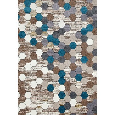 Catalan Beige/Blue Indoor/Outdoor Area Rug Rug Size: 5 x 7
