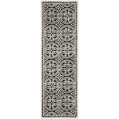 Fairburn Black/Ivory Area Rug Rug Size: Runner 26 x 20