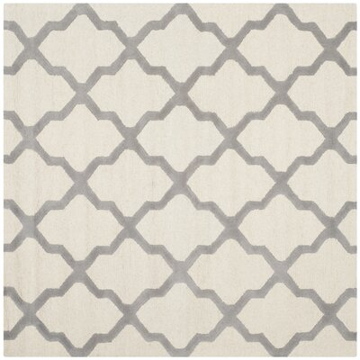Charlenne Hand-Tufted Ivory Area Rug Rug Size: Square 8