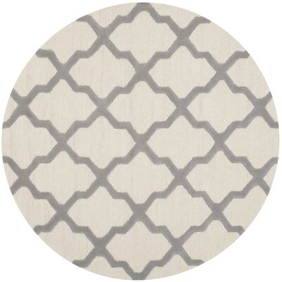 Charlenne Hand-Tufted Ivory Area Rug Rug Size: Round 8