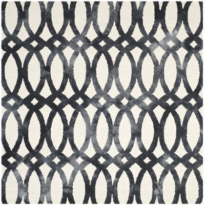 Edie Hand Tufted Ivory/Graphite Area Rug Rug Size: Square 7
