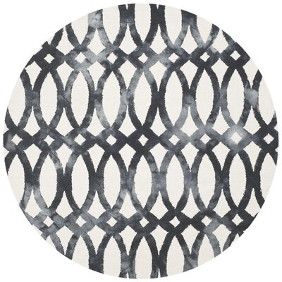 Edie Hand Tufted Ivory/Graphite Area Rug Rug Size: Round 7