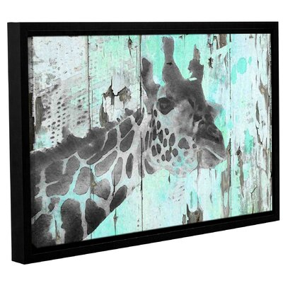 'Giraffe Taking a Look' Framed Graphic Art Print on Canvas Size: 12