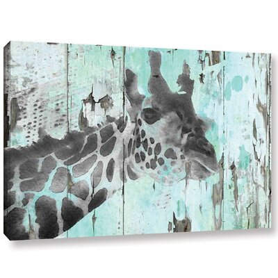 'Giraffe Taking a Look' Graphic Art Print on Wrapped Canvas Size: 12