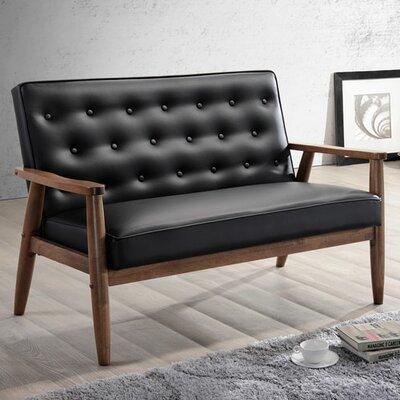 Zoee Loveseat Upholstery: Black