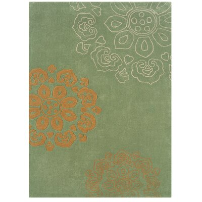 West Wick Hand-Tufted Green Area Rug Rug Size: 110 x 210