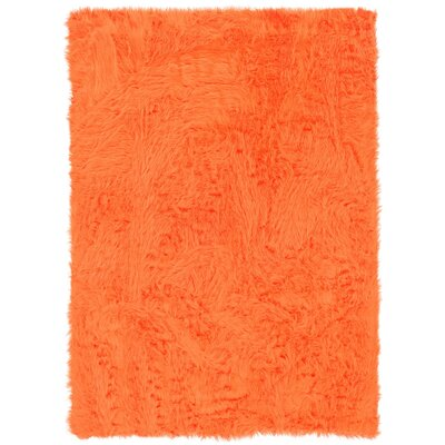 Boley Faux Sheepskin Hand-Tufted Orange Area Rug Rug Size: Rectangle 110 x 210