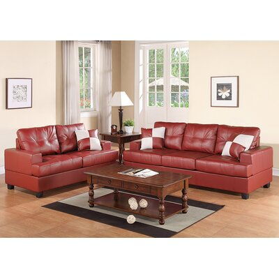 Wamsutter Sofa and Loveseat Set Upholstery: Burgundy