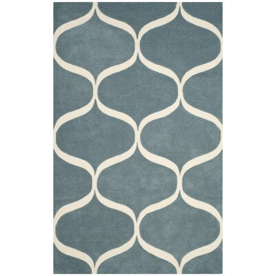 Martins Hand-Tufted Light Blue/Ivory Area Rug Rug Size: Square 6 x 6