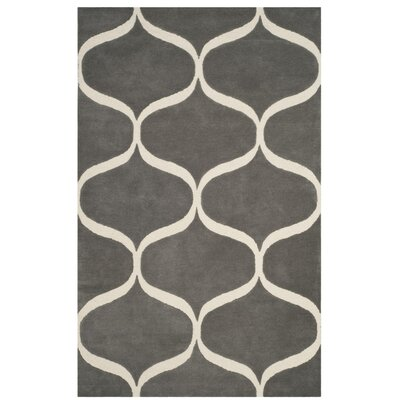 Martins Hand-Tufted Dark Gray/Ivory Area Rug Rug Size: Round 6 x 6