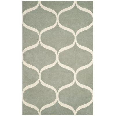 Martins Hand-Tufted Gray/Ivory Area Rug Rug Size: 5 x 8