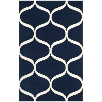 Martins Hand-Tufted Dark Blue/Ivory Area Rug Rug Size: Round 6 x 6