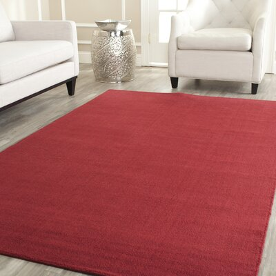 Bargo Red Area Rug Rug Size: Round 8