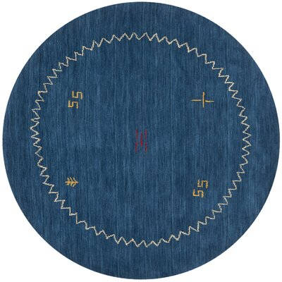 Bolick Blue Area Rug Rug Size: Round 6