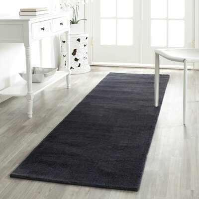 Lawton Black Solid Wool Hand-Tufted Area Rug
