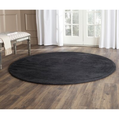 Trost Black Area Rug Rug Size: Round 6