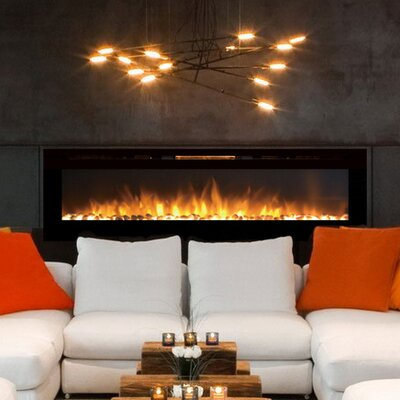 Fellman Pebble Stone Wall Mount Electric Fireplace Size: 21.4