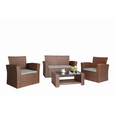 Ferreira 4 Piece Deep Seating Group with Cushion Frame Finish: Brown
