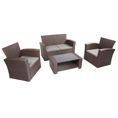 Ferreira 4 Piece Deep Seating Group with Cushion Frame Finish: Chocolate