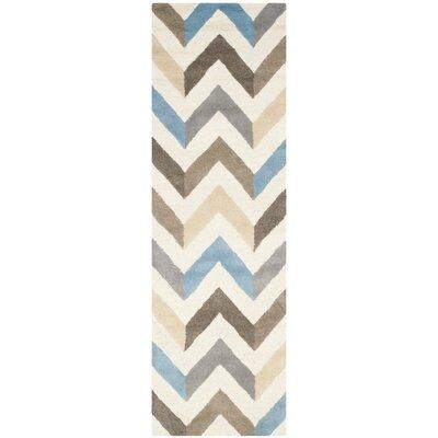 Medina Ivory/Grey Chevron Area Rug Rug Size: Runner 26 x 8