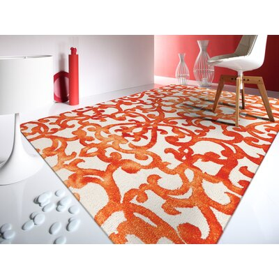 Eltingville White/Orange Area Rug Rug Size: 76 x 96