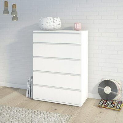 Karev 5 Drawer Wood Chest Color: White