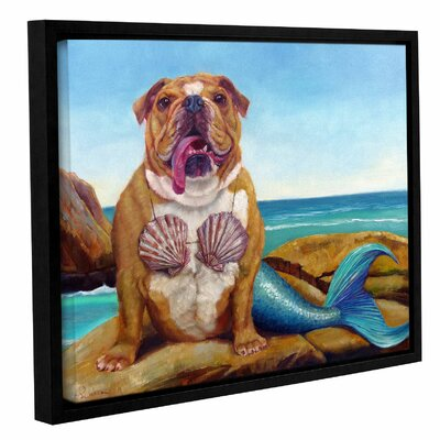 'Mermaid Dog' Framed Painting Print on Canvas Size: 14'' H x 18'' W x 2'' D