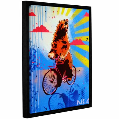 'Bear Back Rider' Framed Graphic Art Print on Canvas Size: 10