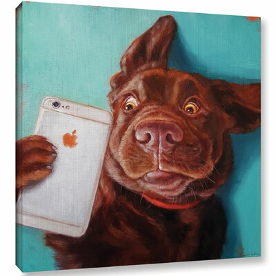 'Dog Selfie' Graphic Art Print on Canvas Size: 10'' H x 10'' W x 2'' D