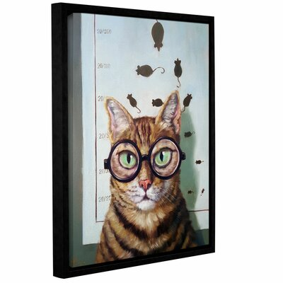 'Feline Eye Exam' Framed Graphic Art Print on Canvas Size: 10'' H x 8'' W x 2'' D