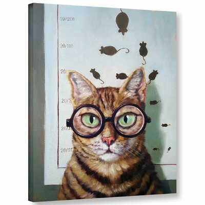 'Feline Eye Exam' Graphic Art Print on Canvas Size: 10'' H x 8'' W x 2'' D
