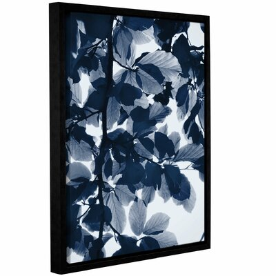 'Indigo Leaves' Framed Graphic Art Print on Canvas Size: 10'' H x 8'' W x 2'' D
