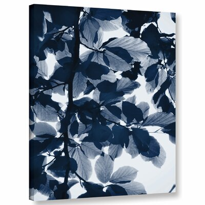 'Indigo Leaves' Graphic Art Print on Canvas Size: 10'' H x 8'' W x 2'' D