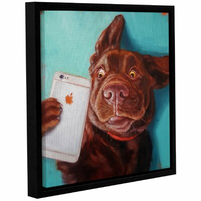 'Dog Selfie' Framed Graphic Art Print on Canvas Size: 10'' H x 10'' W x 2'' D